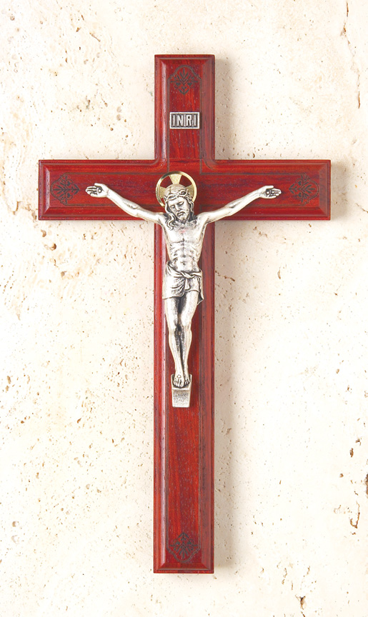 11In. Rosewood Crucifix With Laser-Engraved Pattern