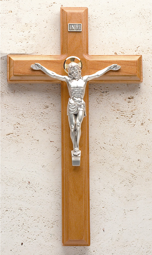 11in. Maple Crucifix with Beveled Edges and Salerni Corpus