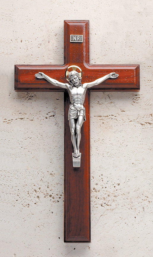 11In. Rosewood Crucifix With Beveled Edges And Salerni Corpus