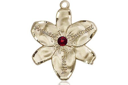 14kt Gold Chastity Medal with a 3mm Garnet Swarovski stone