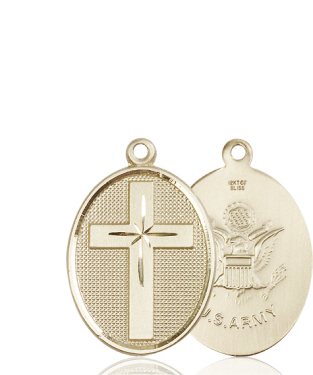 14kt Gold Cross Army Medal