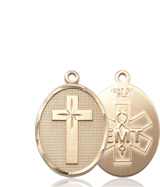 14kt Gold Cross EMT Medal