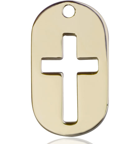 14kt Gold Cross Dog Tag Medal