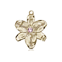 14kt Gold Chastity Medal with a 3mm Light Amethyst Swarovski stone