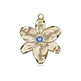 14kt Gold Chastity Medal with a 3mm Sapphire Swarovski stone